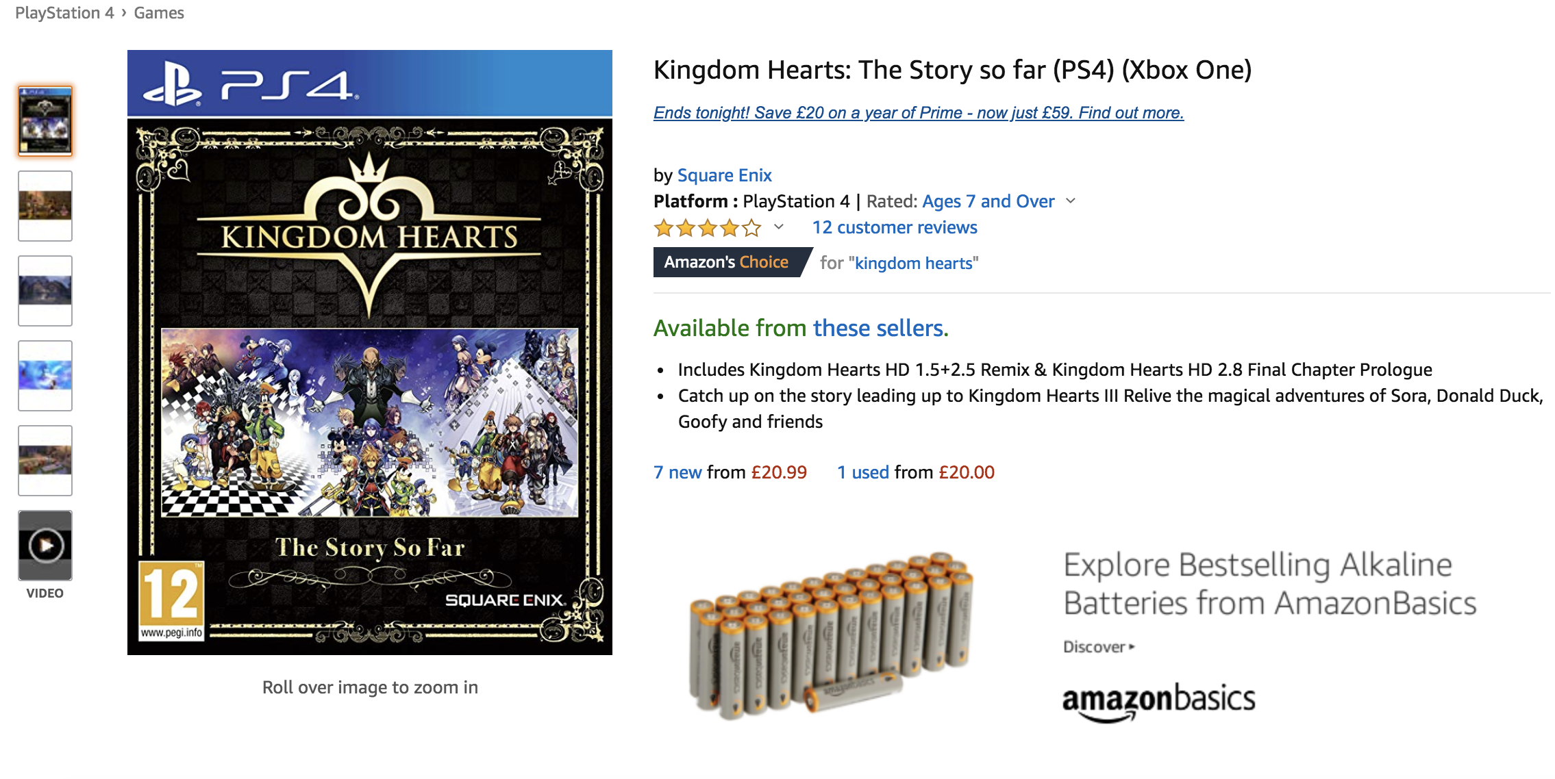 Kingdom Hearts: The Story So Far listado para Xbox One en Amazon