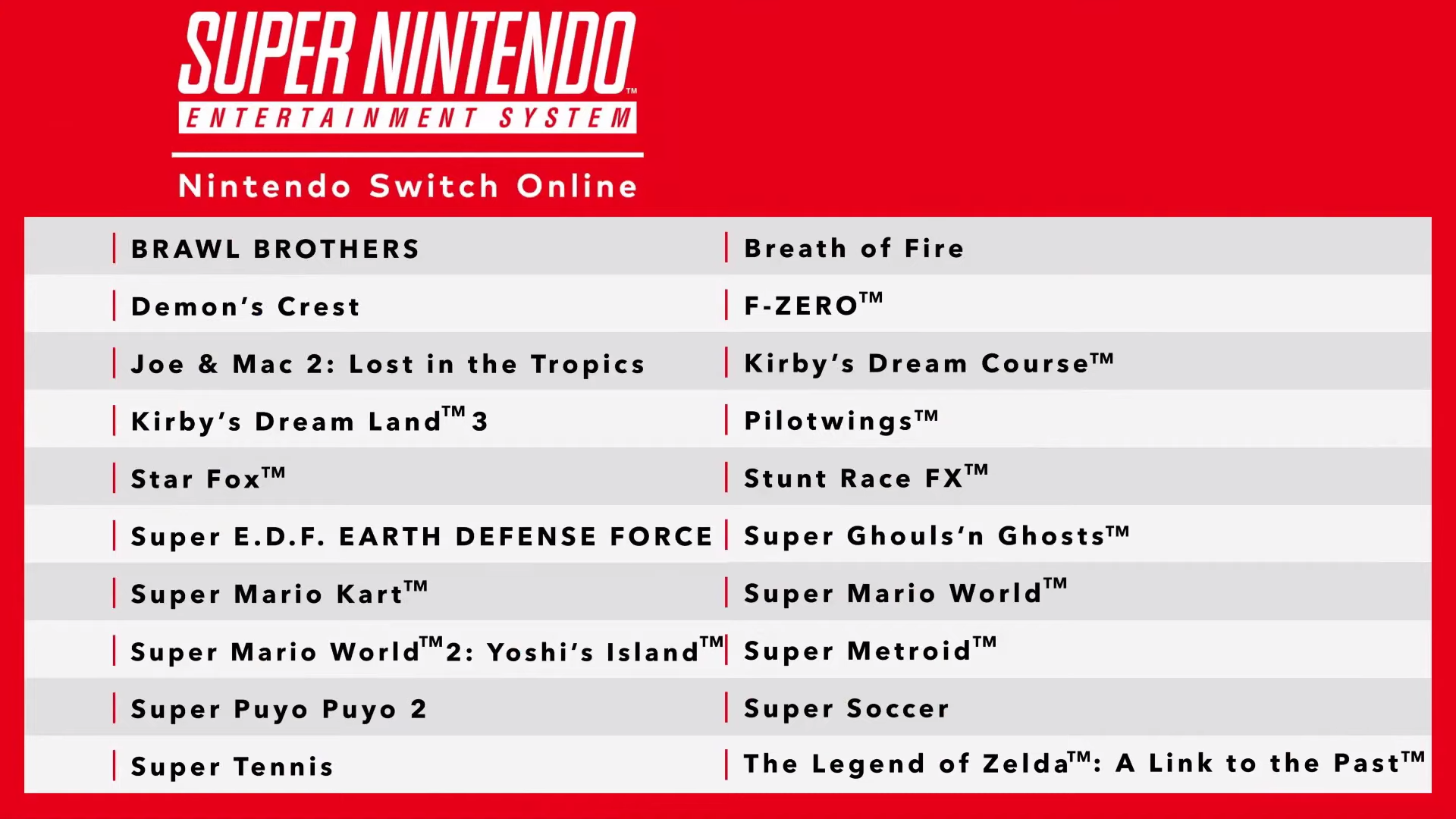 nintendo switch online snes games list