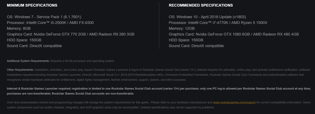 red dead redemption 2 pc system requirements
