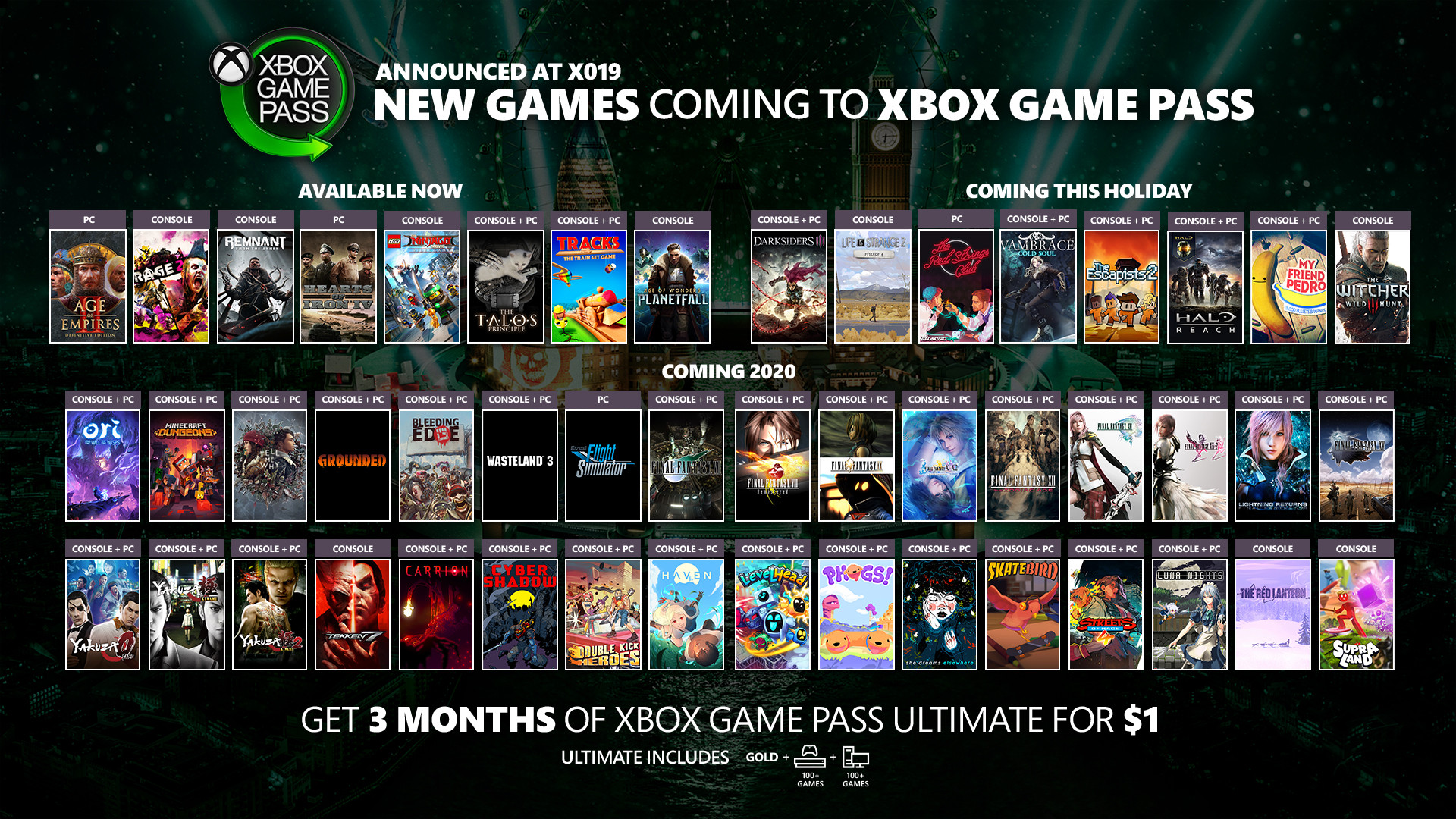 games leaving xbox game pass november 2019