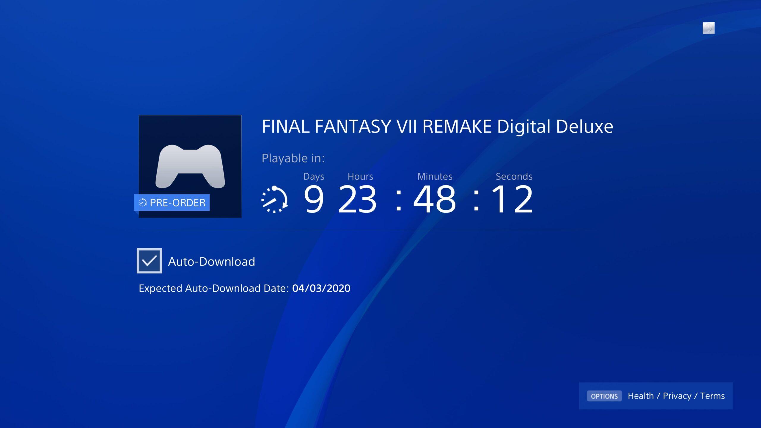 final fantasy vii remake pre-load